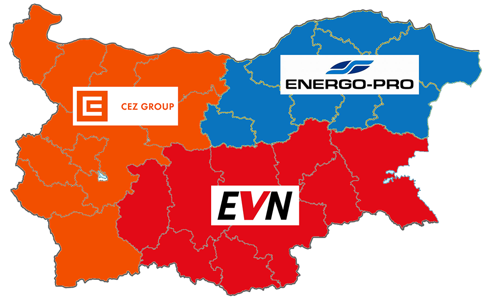Територия, която обхващат трите доставчика на електроенергия в България - Енерго Про, ЕВН и ЧЕЗ